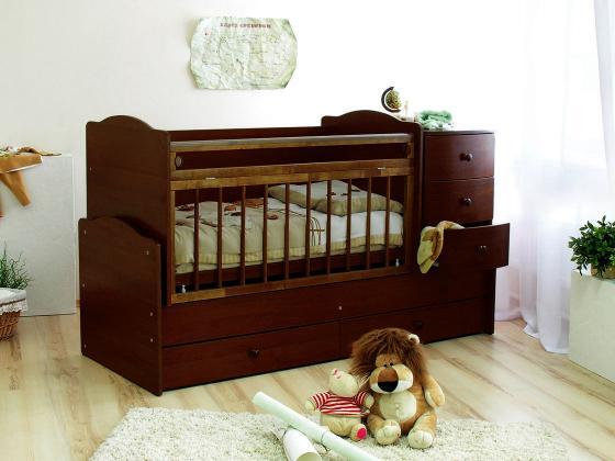 Кроватка-трансформер Красная Звезда Кирюша С859 (шоколад) обычная кроватка красная звезда виталина 851 шоколад