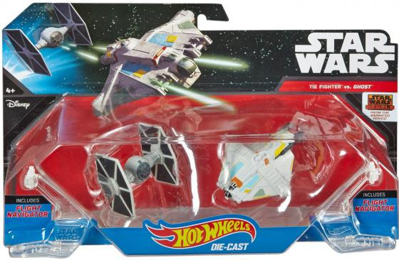 Игровой набор Hot Wheels 2 звездных корабля Star Wars Tie Fighter vs Ghost CGW90 игровой набор hot wheels star wars tie fighter cgn33 cmt37