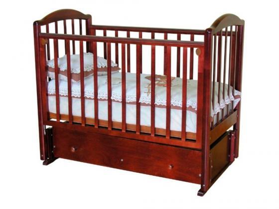 Кроватка с маятником Красная Звезда Регина (красно-коричневый/накладка №23) обычная кроватка красная звезда ирина с625 красно коричневая