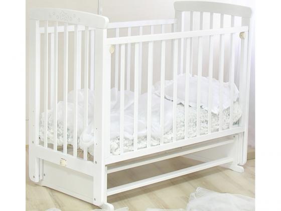 Кроватка с маятником Красная Звезда Марина (белая/резьба №15) обычная кроватка красная звезда агата с719 белая