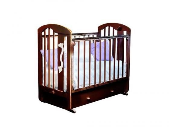Кроватка с маятником Красная Звезда Агата С719 (шоколад/накладка-ростомер №11) обычная кроватка красная звезда агата с718 шоколад