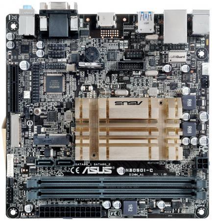 Материнская плата ASUS N3050I-C с процессором Intel 2xDDR3 1xPCI-E 4x 2xSATAIII mini-ITX Retail материнская плата asus h81m r c si s1150 intel h81 2xddr3 1xpci e 16x matx retail