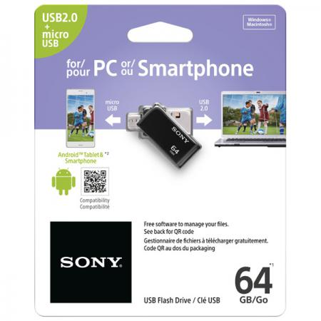 Флешка USB 64Gb SONY On-The-Go USM64SA2 черный usb флешка corsair voyager go 64gb usb3 0 черный