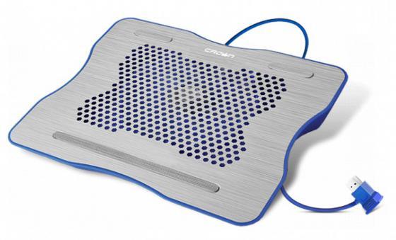 Подставка для ноутбука 15.6 Crown CMLC-1001 264x331x43mm USB 530g серебристо-синий