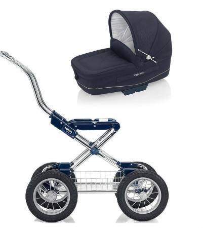 Коляска для новорожденного Inglesina Vittoria на шасси Comfort Chrome/Blue (AB10E1MAR+AE10E1000/B)