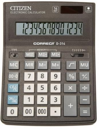 Калькулятор Citizen Correct D-314 14-разрядный черный citizen correct d 316