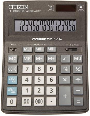 Калькулятор Citizen Correct D-316 16-разрядный черный citizen correct d 316