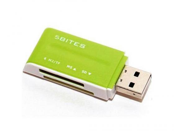 Картридер внешний 5bites RE2-102GR USB2.0 ext all-in-1 зеленый