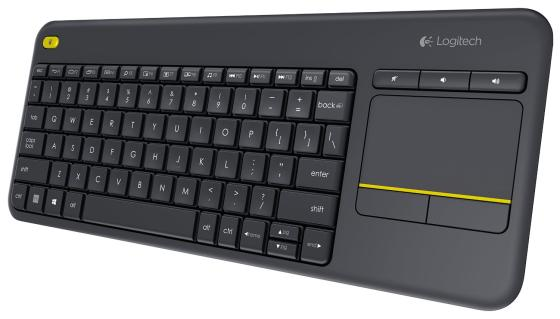 Клавиатура беспроводная Logitech Wireless Touch Keyboard K400 Plus USB черный 920-007147 920 008868 клавиатура logitech rgb mechanical gaming keyboard g513 tactile switch