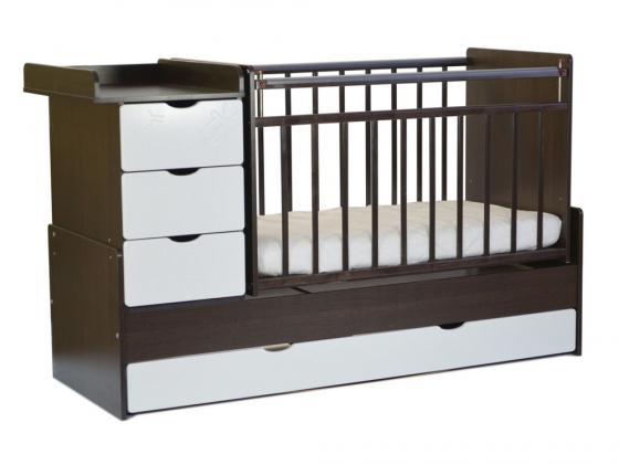 Кроватка-трансформер с маятником СКВ-5 (жираф/венге-белый/540038-1) обычная кроватка скв компани 234005 натуральная