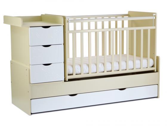 Кроватка-трансформер с маятником СКВ-5 (жираф/бежевый-белый/540039-1) цена