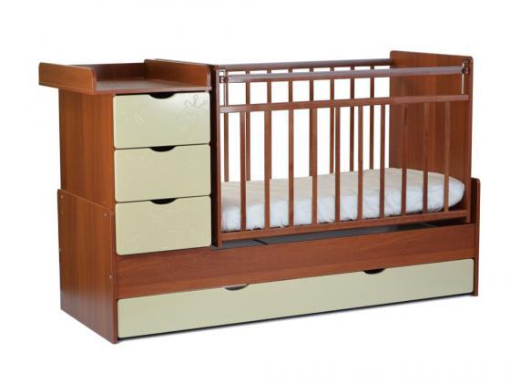 Кроватка-трансформер с маятником СКВ-5 (жираф/орех+кожа молочный/540037-110) кроватка трансформер ведрусс раиса с маятником темная