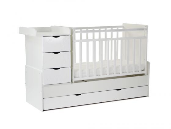 Кроватка-трансформер с маятником СКВ-5 (жираф/белый+серый текстиль/540031-212) цена