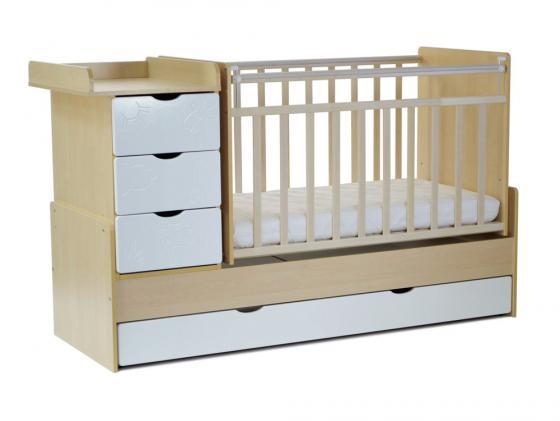 Кроватка-трансформер с маятником СКВ-5 (жираф/береза+белый/540035-1) кроватка скв березка 121115 береза