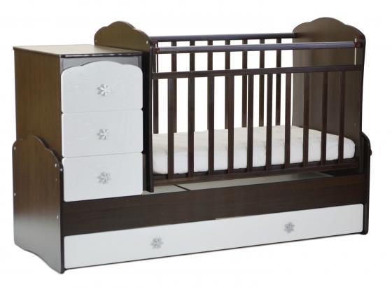 Кроватка с маятником СКВ-9 (венге-белый/фасад жираф/940038-1) кроватка скв 9 жираф 940039 бежевый