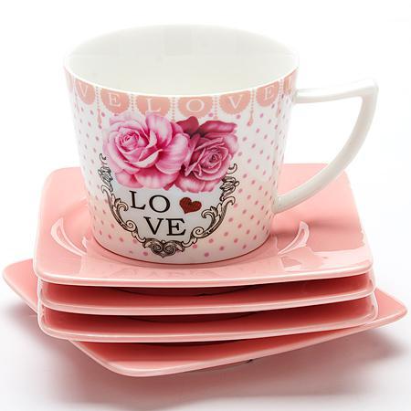 Чайный набор Loraine LR-24697 0.23 л керамика розовый