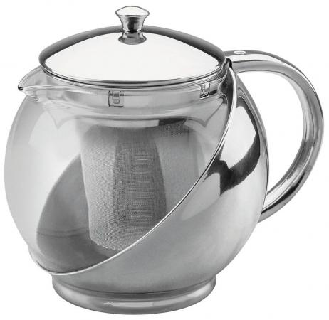Чайник заварочный Bekker 303-ВК 0.9 л металл/пластик серебристый заварочный чайник bekker de luxe 0 5 л вк 397