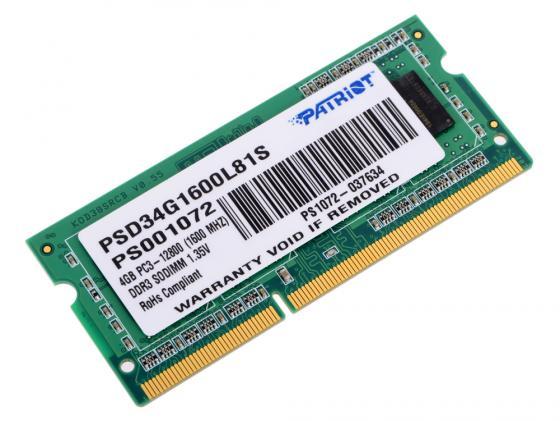 Оперативная память для ноутбука 4Gb (1x4Gb) PC3-12800 1600MHz DDR3 SO-DIMM CL11 Patriot PSD34G1600L81S