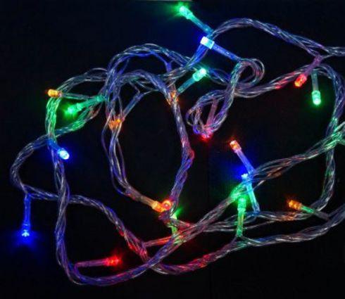 Гирлянда электрическая 100LED цветного свечения, прозрачный провод 8м, 8 режимов 971027 luomu multi color 10m 100led plug