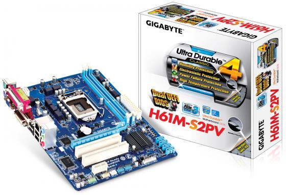 Материнская плата GigaByte GA-H61M-S2PV V2.2/V2.3 Socket 1155 H61 2xDDR3 1xPCI-E 16x 2xPCI 1xPCI-E 1x 4xSATA II mATX Retail gigabyte ga h81m s2pv rev 2 0 rev 3 0