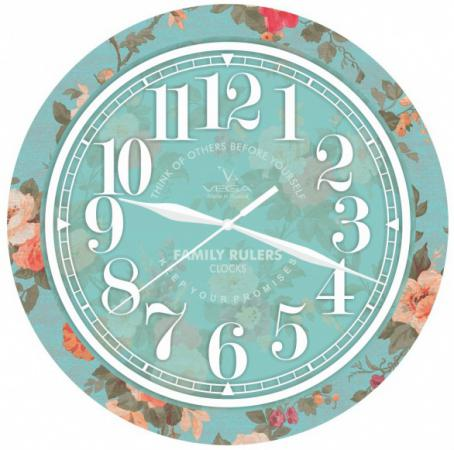 Часы настенные Вега П 1-239/7-239 бирюзовый рисунок цена
