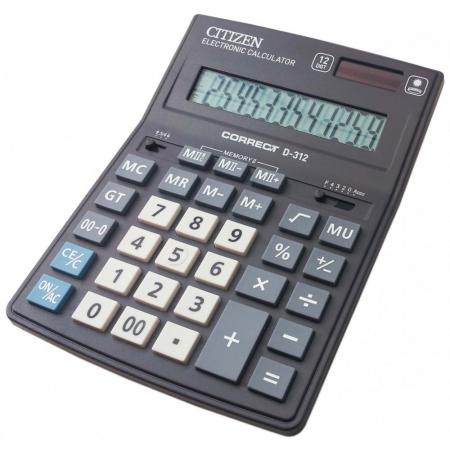 Калькулятор настольный Citizen Correct D-312 12-разрядный калькулятор citizen d 312 black двойное питание