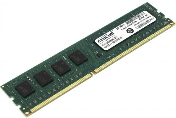 Оперативная память 4Gb (1x4Gb) PC3-12800 1600MHz DDR3L DIMM CL11 Crucial CT51264BD160B(J) модуль памяти crucial pc3 12800 so dimm ddr3l 1600mhz 4gb ct51264bf160bj