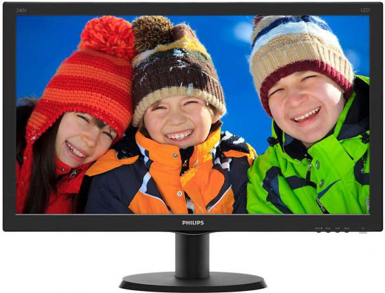 Монитор Philips 240V5QDSB/00/01 черный IPS 1920x1080 250 cd/m^2 5 ms DVI VGA HDMI монитор lg 24ud58 b черный ips 3840x2160 250 cd m^2 5 ms g t g hdmi displayport