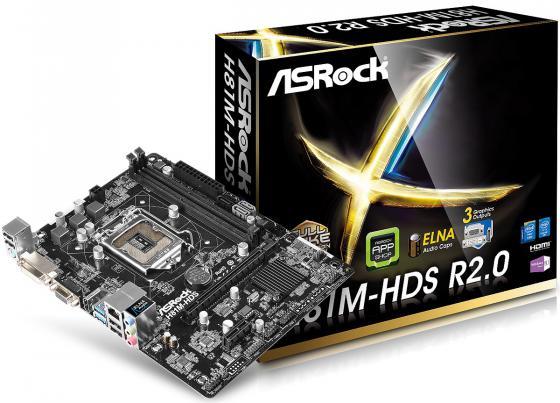 Материнская плата ASRock H81M-HDS R2.0 Socket 1150 H81 2xDDR3 1xPCI-E 16x 1xPCI-E 1x 2xSATA II 2xSATAIII mATX Retail материнская плата asrock b150m pro4s s1151 b150 matx