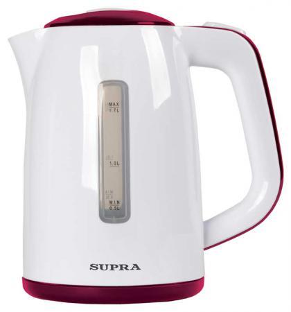 Чайник Supra KES-1728 2200 Вт белый красный 1.7 л пластик чайник supra kes 1724 2200 вт 1 7 л пластик белый синий