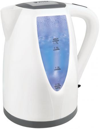 Чайник Vitek VT-7014 2200 Вт 1.7 л нержавеющая сталь белый чайник vitek vt 7008 tr 2200 вт чёрный 1 7 л пластик стекло