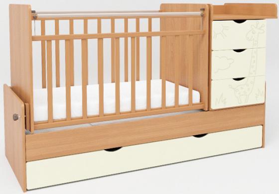 Кроватка-трансформер с маятником СКВ-5 (жираф/ венге+ясень крем/540038-410) цена