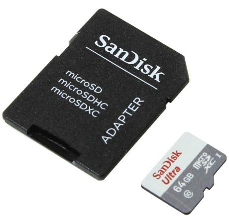 Карта памяти Micro SDXC 64Gb Class 10 Sandisk SDSQUNB-064G-GN3MA + адаптер sandisk sdsqunb 064g gn3mn ultra 64gb class 10 без адаптера