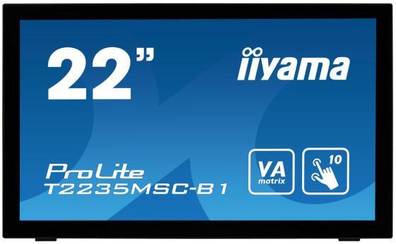 Монитор 22 iiYama Pro Lite T2235MSC-B1 черный VA 1920x1080 225 cd/m^2 6 ms DVI DisplayPort VGA USB монитор iiyama xb2472hsuc b1 24 black 1920x1080 va 75hz 8ms vga d sub dvi dp usbhub speaker vesa