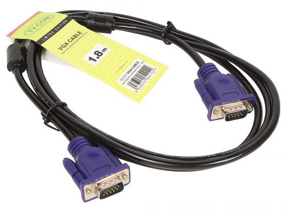 Фото - Кабель VGA 1.8м VCOM Telecom круглый черный QCG120H-1.8M/QCG341AD кабель vga 1 8м vcom telecom vvg6460 2mo круглый черный