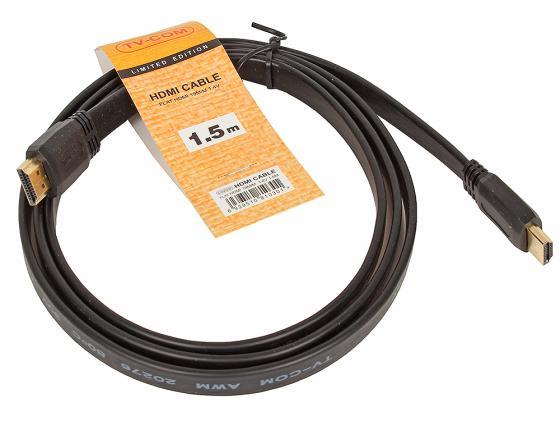 Кабель HDMI 1.5м VCOM Telecom плоский CG200F-1.5M кабель hdmi vcom cg525dr 1 8m cg525dr 1 8m