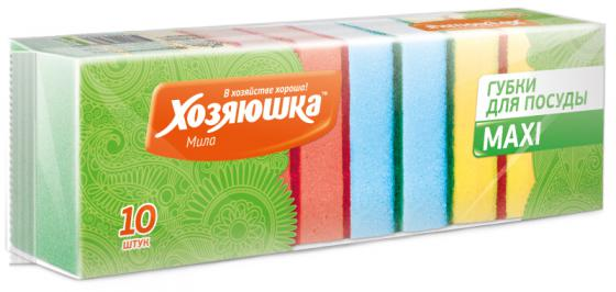 Губка для посуды Хозяюшка Мила MAXI 01001 10шт цена и фото