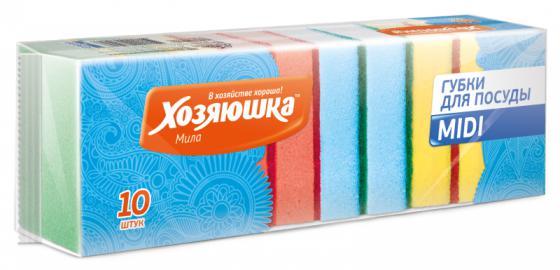 Губка для посуды Хозяюшка Мила MIDI 01003 10шт от Just.ru