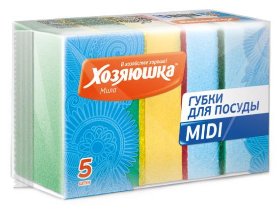 Губка для посуды Хозяюшка Мила MIDI 01004 хозяюшка мила губка для тефлоновой посуды пчелка в вакуумной упаковке 2 шт 100шт 01020 100