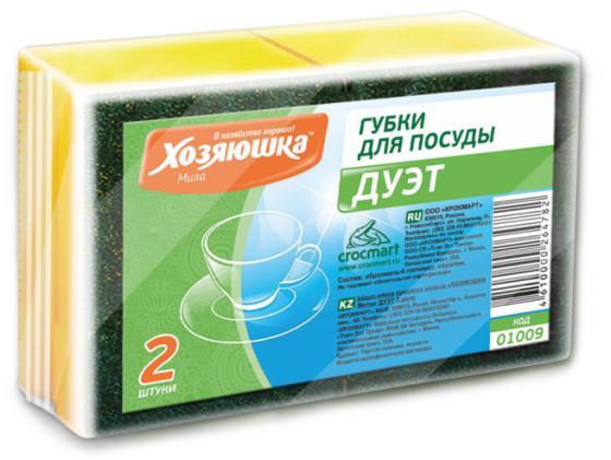 Губка для посуды Хозяюшка Мила Дуэт 01009 хозяюшка мила губка для тефлоновой посуды пчелка в вакуумной упаковке 2 шт 100шт 01020 100