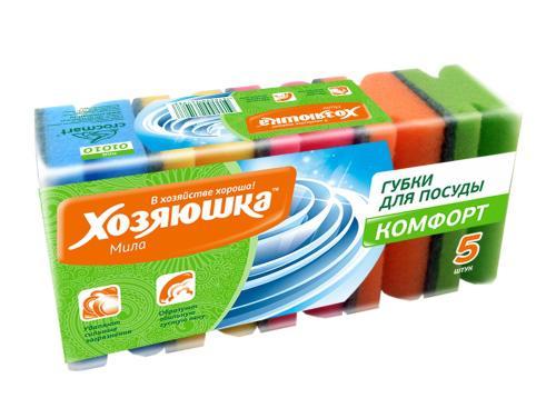 Губка для посуды Хозяюшка Мила Комфорт 01010 5шт хозяюшка мила губка для тефлоновой посуды пчелка в вакуумной упаковке 2 шт 100шт 01020 100