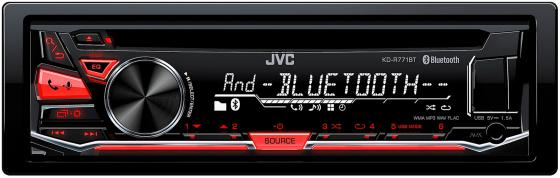 Автомагнитола JVC KD-R771BT USB MP3 CD FM RDS 1DIN 4x50Вт черный автомагнитола kenwood kdc bt500u usb mp3 cd fm rds 1din 4х50вт черный