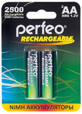 Аккумуляторы 2500 mAh Perfeo AA2500/2BL AA 2 шт зарядное устройство аккумуляторы duracell cef14 2 х aa2500 mah 2 х aaa850 mah