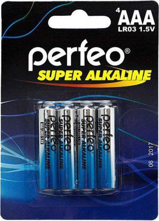 Батарейки Perfeo LR03/4BL Super Alkaline AAA 4 шт батарея эра lr03 4bl aaa 4 шт