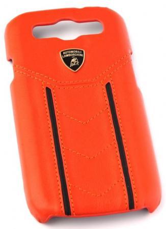 Кожаный клип-кейс для Samsung Galaxy S3 Lamborghini Gallardo-D2 (оранжевый/черный)