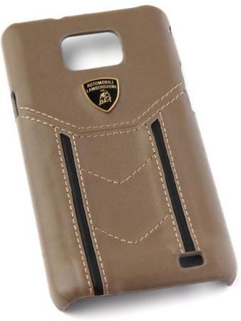 цена на Кожаный клип-кейс для Samsung Galaxy S2 Lamborghini Gallardo-D2 коричневый черный