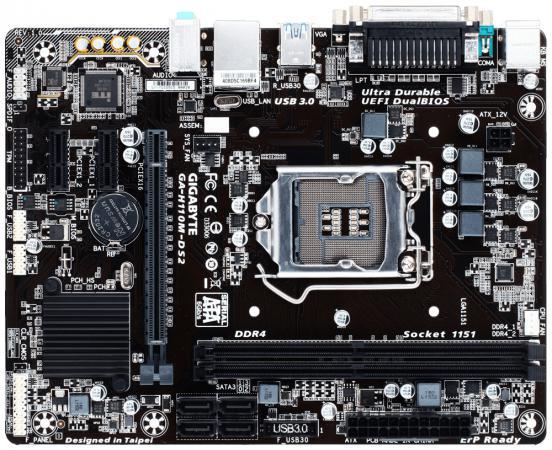 Материнская плата GigaByte GA-H110M-DS2 Socket 1151 H110 2xDDR4 1xPCI-E 16x 2xPCI-E 1x 4 mATX Retail материнская плата gigabyte ga h81m s1 v2 2 socket 1150 h81 2xddr3 1xpci e 16x 2xpci e 1x 2xsata ii 2xsataiii matx retail