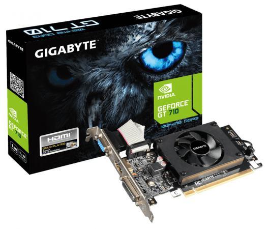 Видеокарта 1024Mb Gigabyte GT710 PCI-E GDDR3 64bit HDMI DVI CRT HDCP GV-N710D3-1GL Retail видеокарта asus geforce gtx 1060 1620mhz pci e 3 0 6144mb 8208mhz 192 bit dvi hdmi hdcp rog strix gtx1060 o6g gaming