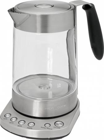 Чайник Profi Cook PC-WKS 1020 G 3000 Вт 1.7 л металл/стекло прозрачный электрический чайник profi cook pc wks 1020 g