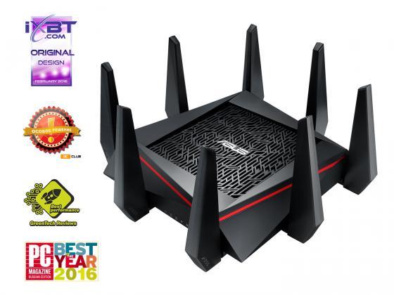 Беспроводной маршрутизатор ASUS RT-AC5300 802.11acbgn 5334Mbps 5 ГГц 2.4 ГГц 4xLAN USB RJ-45 черный маршрутизатор asus rt n56u 802 11n 300mbps 5 ггц 4xlan usb usb черный